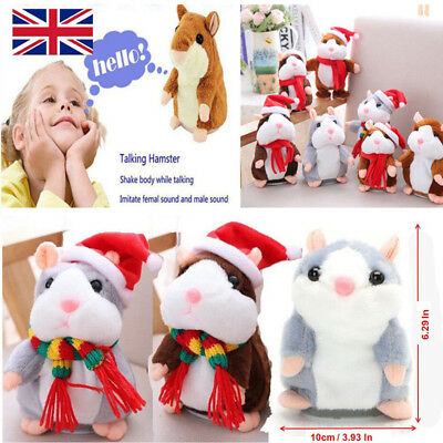 UK Talking Cheeky Hamster Christmas Baby Kids Gift Soft Toys + Fast Shipping