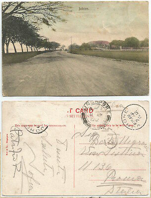 MALAYA JOHORE 1912 Road in countryside CPPC, sent to Italy      Ed. Koh & Co