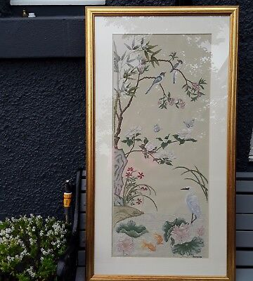 Large Vintage Embroidered Panel With Crane Carp Birds And Butterflies