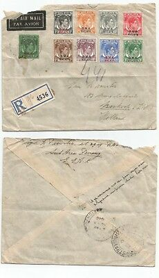 MALAYA BMA 1946 REGIST airmail cover from Singapore to Holland