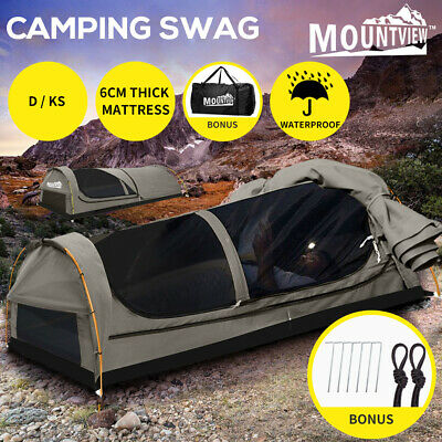 MOUNTVIEW Double Swag Camping Swags Canvas Tent Deluxe Kings Pole Daddy Bag Grey