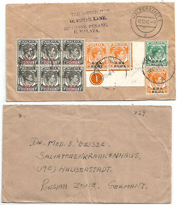 MALAYA BMA 1948 surface mail cover from Penang to Eastern Germany    Ctrl pr