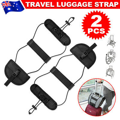 2X Adjustable Black Add A Bag Strap Travel Luggage Suitcase Belt Carry On Bungee