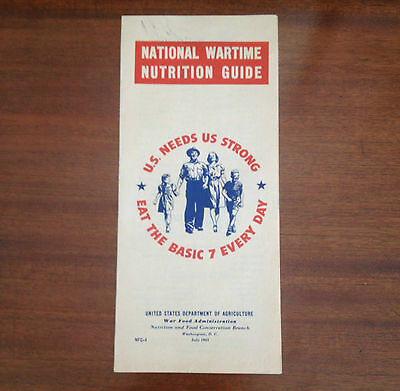 WW2 1943 Propaganda United States National Wartime Nutrition Guide Pamphlet RARE