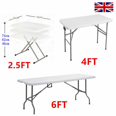 Heavy Duty Folding Table 2.5FT 4FT 6FT Camping Trestle Picnic BBQ Plastic Table
