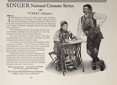 1899 Ad(1800-34)~Singer Mfg. Co. Nyc. National Costume Series, Turkey (Albania)