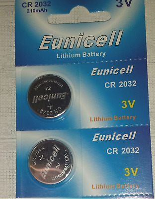 2x Knopf - Batterie EUNICELL CR-2032 3V 210 MAh Lithium Battery