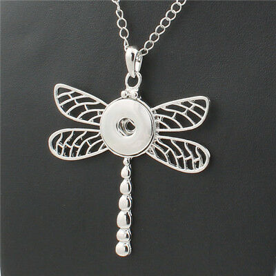 Dragonfly Snap Button Jewelry Pendant With Chain For 18mm Snaps Charm