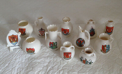 W H Goss crested China crested ware collection of 9 pieces plus 3 other makes
