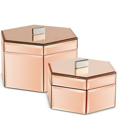 Beautify Mirrored Rose Gold Octagon Jewelry Storage Trinket Boxes Set of 2
