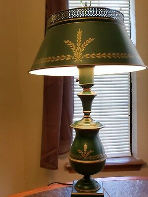 VTG Green Gold painted Metal Tole ware Table Lamp milk glass mid century french