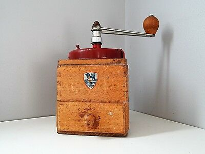 Antique/Vintage French coffee mill coffee grinder Peugeot Frères France ,wood