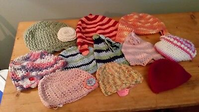 Joblot of 11 Hand Crocheted Hats, Various Sizes and Styles, New