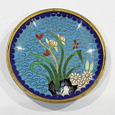 Vintage Japanese Chinese Cloisonne Enamel Pin Dish Tray Floral Flowers