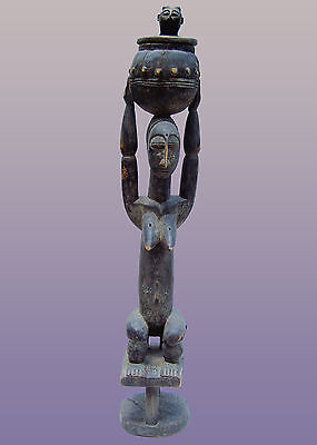 """African Attye female Figure with pot from Lagoon area of Ivory Coast 43"""" Tall"""