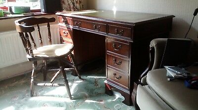 Mahogany Effect Leather Top Pedestal Office Desk With Chair