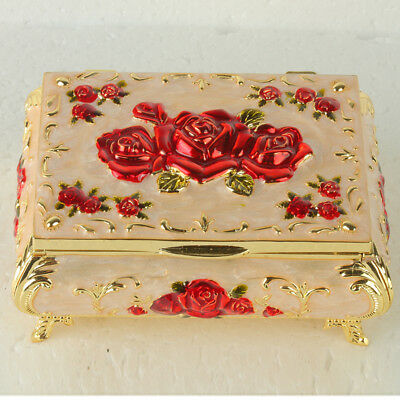 Chinese Exquisite Cloisonne Handmade Carved Rose Flower Jewelry Box JTL3021+a