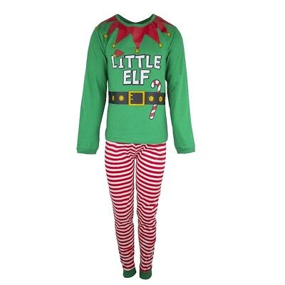 Fab Unisex  Little Elf Cotton Pyjamas Outfit Costume Sizes 2-13 Years Rrp £12.99