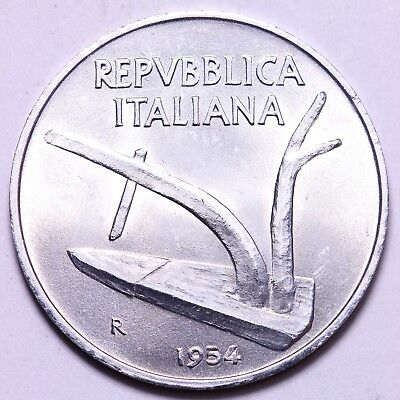 1954 Italy 10 Lire Coin Free S/H To The USA