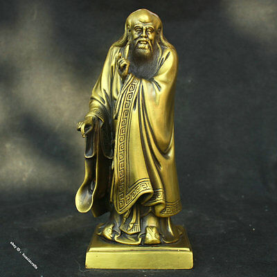 "11"" Chinese Bronze Brass Famous Philosopher Thinker Lao Tzu Lao Zi Stand Statue"