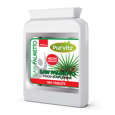Saw Palmetto Extract 3000mg HIGH STRENGTH Prostate, Hair Loss, Urinary Tract UK