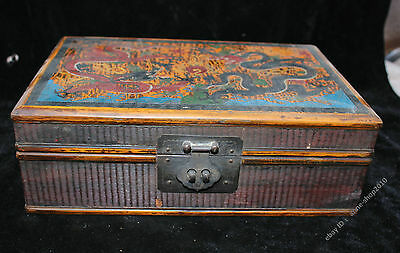 28CM Collect Chinese Boxwood lacquerware Dragon Rosewood Boxes Jewelry Box