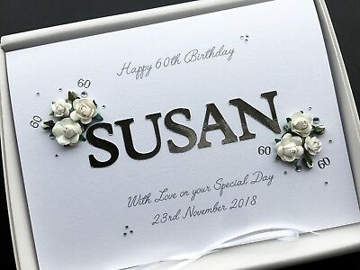 60th BIRTHDAY CARD Mum Gran Wife Personalised Handmade Custom Designs Boxed