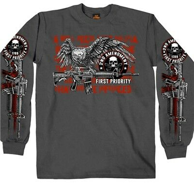 2nd Amendment Long Sleeve T-Shirt Gun NRA USA Flag Biker USMC Rifle Army Navy