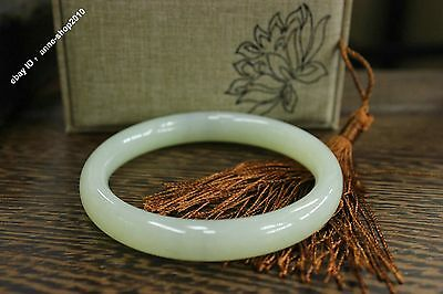 60mm Chinese Xin jiang 100% Pure Hetian white Jade Hand-carved Bracelet Bangle
