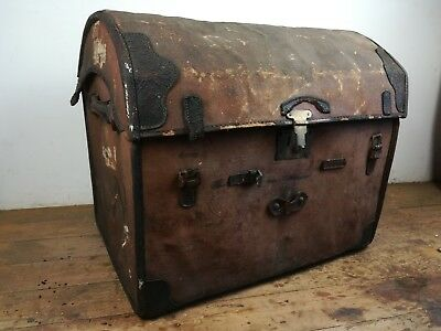 Antique dome wicker leather canvas chest wood basket trunk old