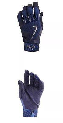 Nike MVP Elite Pro Batting Gloves Blue w/Leather Palm GB0413-412 Adult Small