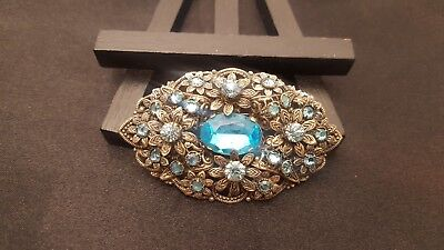 Vintage Art Deco Stamp Czech Aqua Blue Glass Filigree Flower Brooch Pin 2.25""
