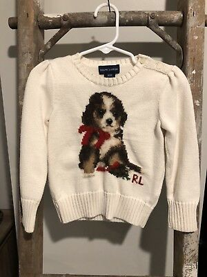 Ralph Lauren Ivory Long Sleeve Pullover Sweater W/Dog Girls/Toddlers Size 3T