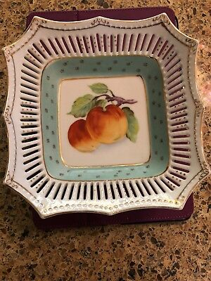 Vintage Aiyo China  Hand Painted Porcelain Reticulated Fruit Bowl Occupied Japan