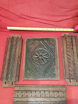 Early English Carved Oak Panel other bits  possibly Tudor