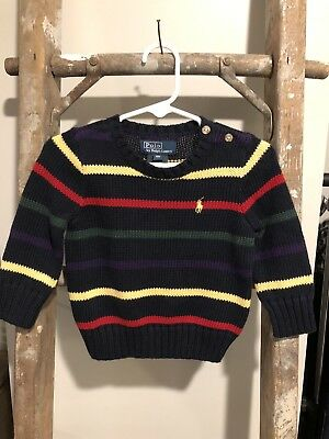 Polo Ralph Lauren Boys Green Blue Striped Holiday Sweater Size 9 Months BNWT