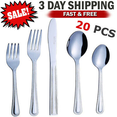 Flatware Set Silverware Set 16 Cutlery Stainless Steel Knife Fork Spoon Teaspoon