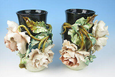 Pair Antique Large Edouard Gilles Borbotine Vases Roses French Majolica Pottery