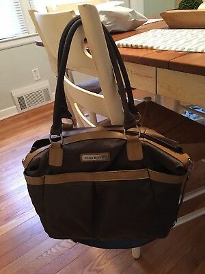 Perry Mackin Harper Brown Nylon w/ Leather Trim Diaper Bag tote