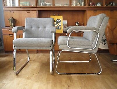 A pair of 70s Verco office or dining arm chairs by Gordon Russell. Vintage retro