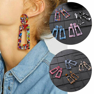 Trendy Women Acrylic Resin Geometric Statement Drop Earrings Dangle Jewelry