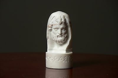 Bust of philosopher Theophrastos carved Greek MARBLE statue figurine sculpture