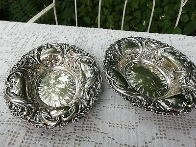 Matching Pair Of Victorian Antique Silver Plated Ornate Bon Bon Dishes Bowls