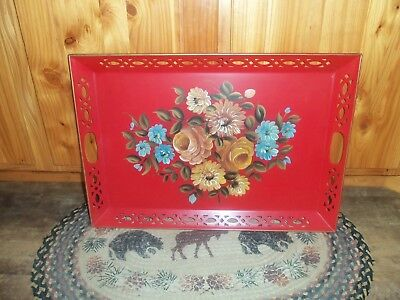vntg nascho large red metal flowered tray