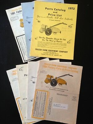 Frazer Farm Equipment Co. Auburn, Ind. Rototiller Parts Catalog's (7) Issues-