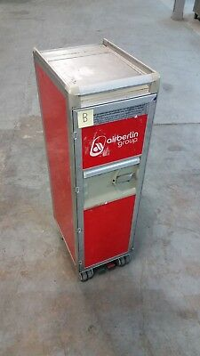 Original Air Berlin Halfsize Trolley, Rot, inkl. 10 Tabletts grau
