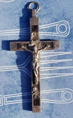 Antique French Priest Skull and Bones Crucifix