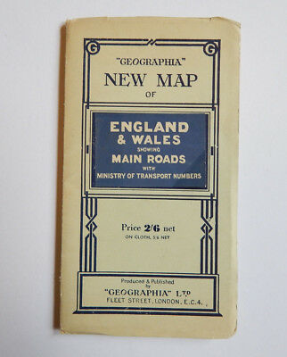 New Map of England & Wales Showing Main Roads by Geographia Maps (1950s) [30x40]