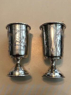 Pair of Antique Russian Imperial Silver Engraved Vodka Shot Cups 84 Mark 1908