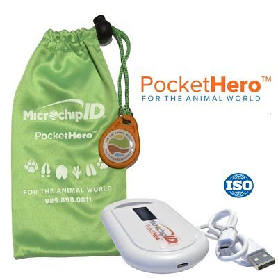 Microchip ID Systems Pocket Hero Handheld ISO Microchip Reader Scanner Green